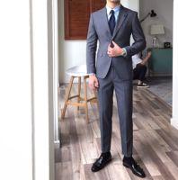 鹿三先生自制紳士正裝純色西裝時尚潮流高級兩件套西服套裝英倫男