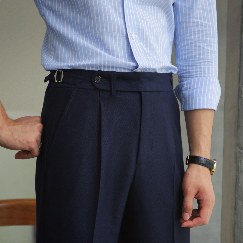 鹿三先生英伦那不勒斯高腰休闲裤意式定制风男士潮百搭直筒长裤子