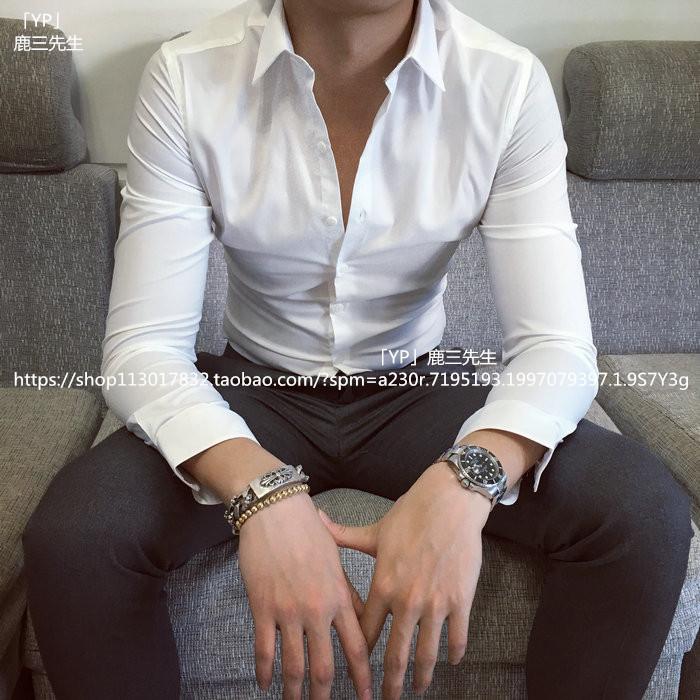 男士薄款长袖白衬衫商务英伦修身纯色衬衣韩版男装休闲青年衫男