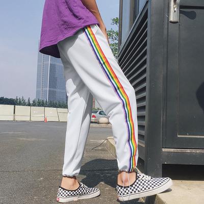 18夏装新款 潮流彩虹织带宽松束脚运动裤情侣A449-1 K131 P55