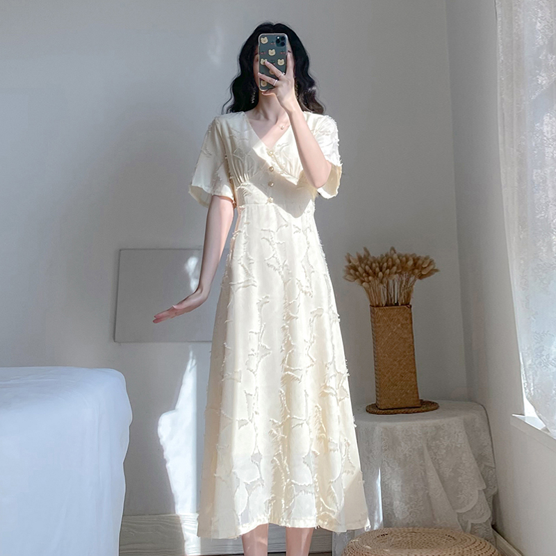 Summer dress 2020 new womens long skirt Platycodon grandiflorum French white machine dress looks thin and super Fairy