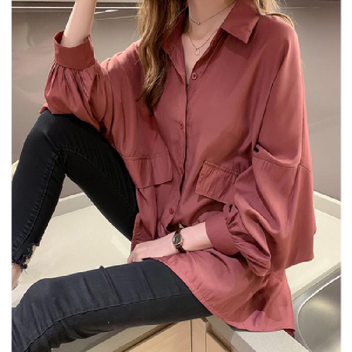 秋装2021新款韩版宽松灯笼袖衬衫设计感小众上衣慵懒衬衣外套