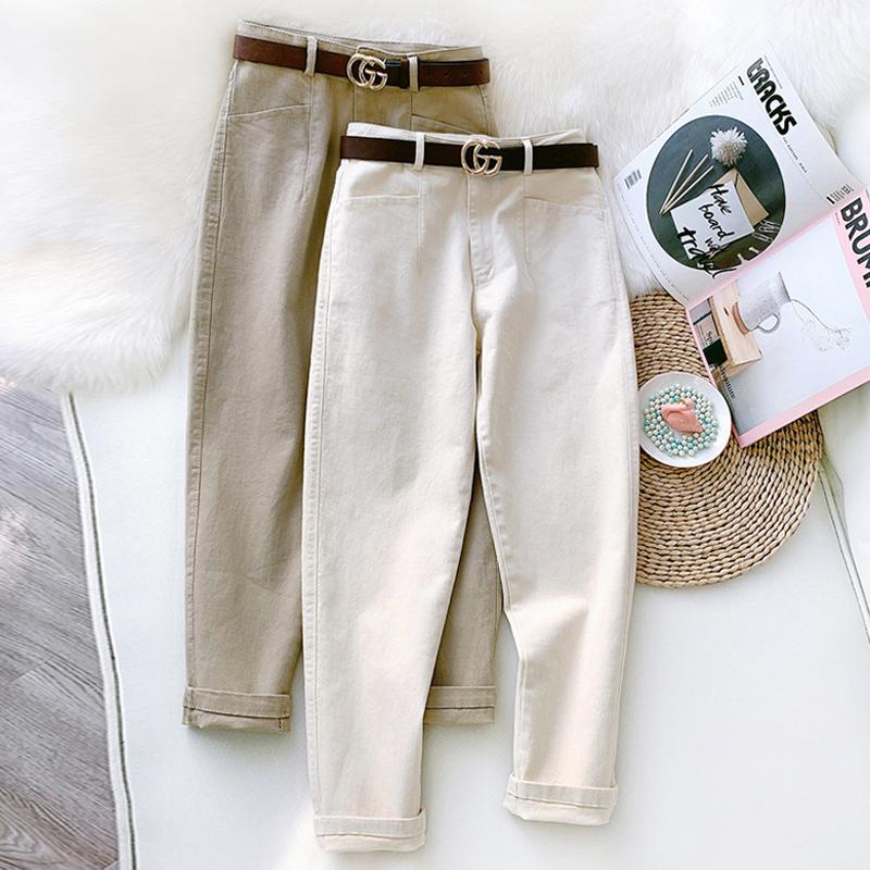 夏季烟管休闲裤女ins潮薄款小个子直筒萝卜裤九分裤子白色老爹裤