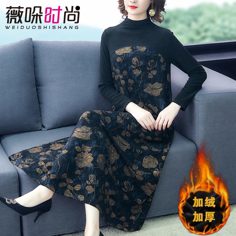 加绒加厚打底连衣裙秋冬装新款宽松中年妈妈装保暖配大衣的长裙子