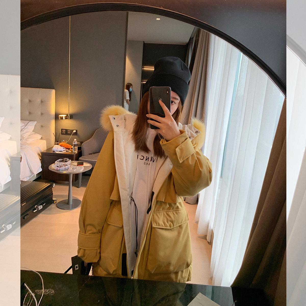 工装大毛领羽绒服女小个子韩版宽松连帽派克服外套