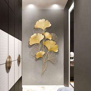 现代轻奢风铁艺墙面装饰客厅金属背景墙挂件玄关墙壁饰银杏叶壁挂