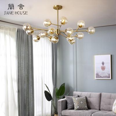 北欧客厅吊灯大气现代简约网红轻奢黄铜分子餐厅灯卧室灯魔豆灯具