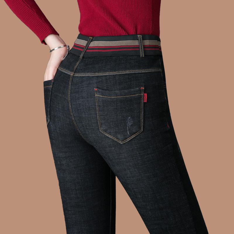 铅笔裤冬季40岁女人松紧带牛仔裤女装裤子加厚加绒裤黑色外穿高腰
