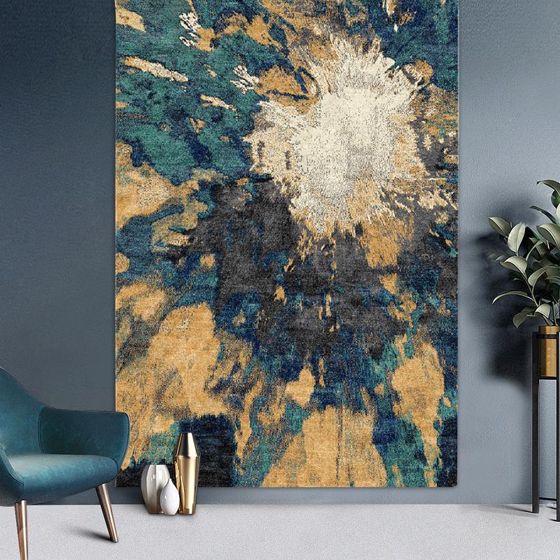 圣瓦伦丁进口土耳其地毯后现代简约轻奢新中式水墨中国风卧室客厅