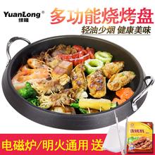 烤肉鍋 緣隆電磁爐燒烤盤家用烤肉盤無煙多功能烤鍋不粘烤盤韓式
