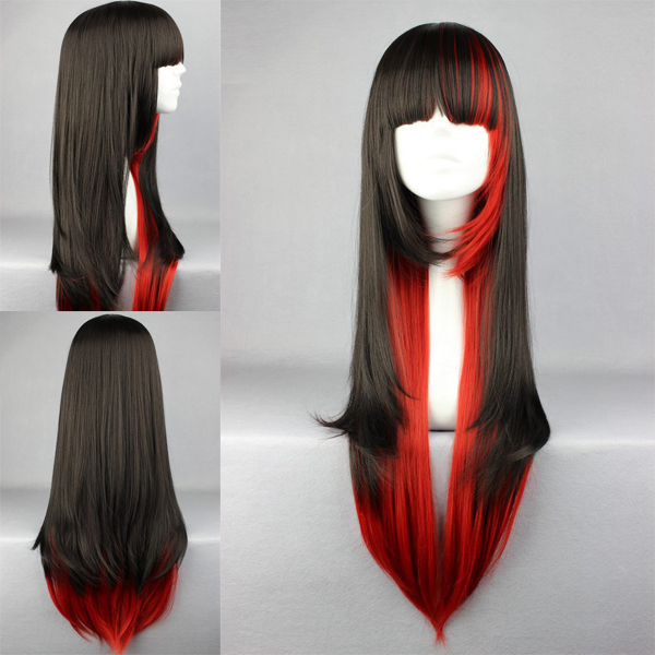 Daily primordial L OLITA wig Japanese Lolita black red two color high temperature silk Cosplay wig