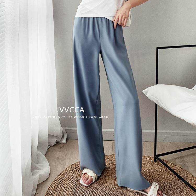 Jvcca / panties are also breathable in summer haze blue high waist loose casual straight leg long pants for women