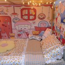 插画师合作款卡通少女背景布生日节日挂布卧室宿舍大改造床头墙布