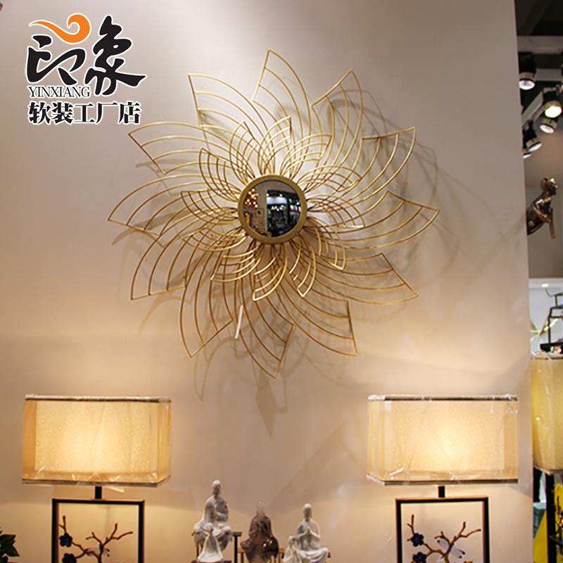 现代铁艺轻奢墙饰太阳镜子创意沙发背景玄关客厅装饰餐厅墙面壁挂