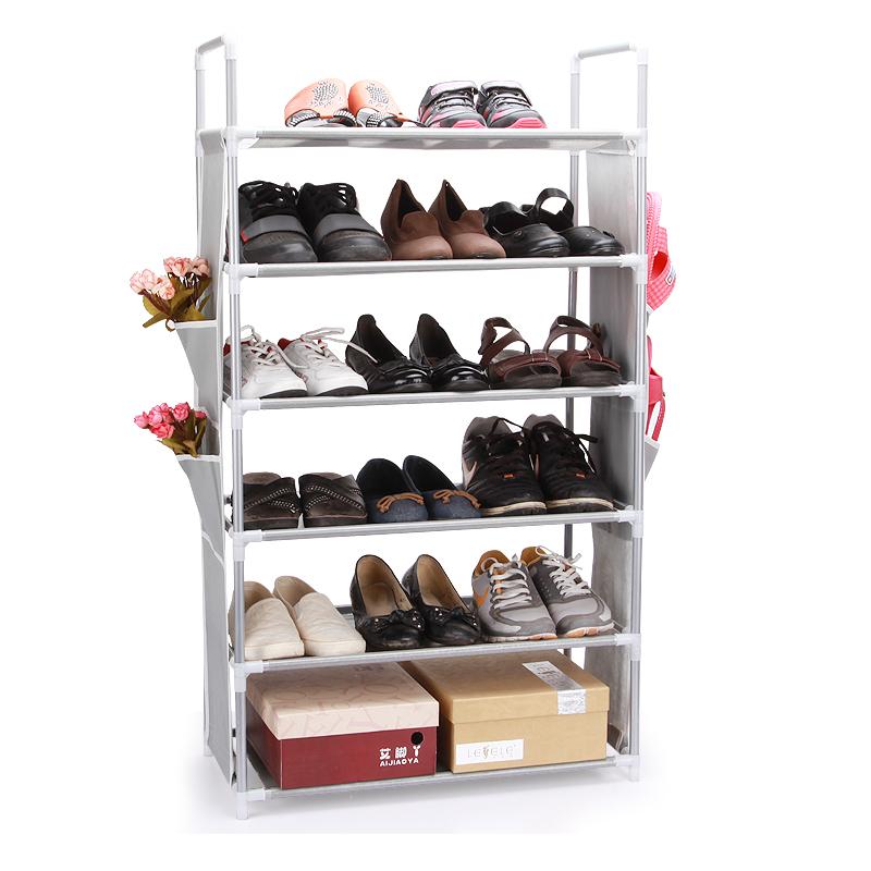 Дни синий обувь нескольких кратких нетканое полотно Хостел обуви стойку четыре уровня обуви полка обуви спец