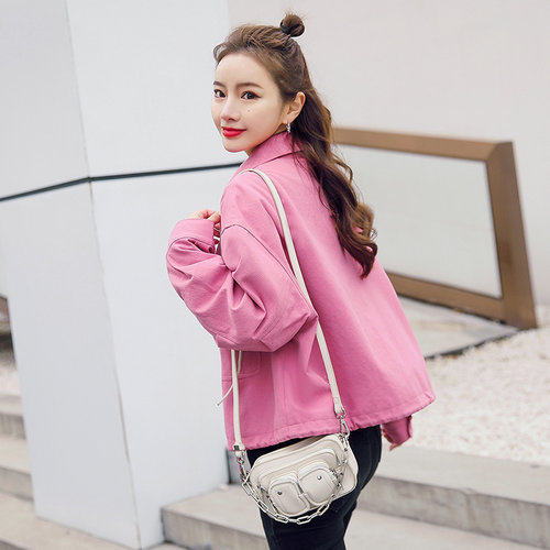 Korean version ol womens small short spring and autumn new loose fashion jacket top intellectual sports jacket