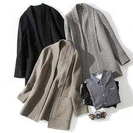 中长款双面羊绒大衣男女士羊毛呢子冬季日系情侣装道袍开衫男外套