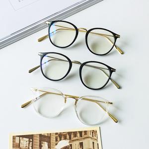 韩国新款复古文艺眼镜框男女  装饰平光镜个性百搭配近视眼镜潮女