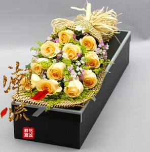 成都鲜花店同城速递11朵香槟玫瑰鲜花束礼盒武侯区送花