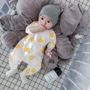 爬服 3个月夏季 婴儿空调服连体衣春夏装 薄款 睡衣6宝宝衣服新生儿0