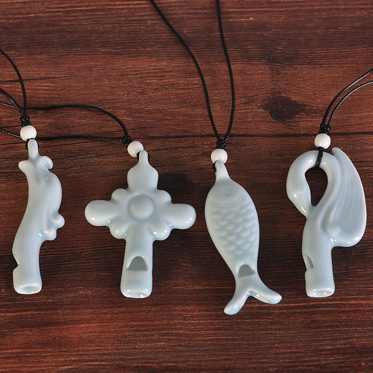 New ceramic necklaces womens ceramic whistling pendant small fresh literature and art friends necklaces fashion ceramic jewelry