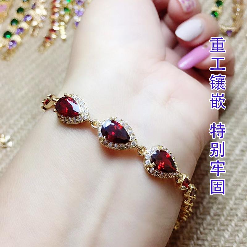 新款红宝石闺蜜手链彩色时尚百搭沙金不掉色红刚玉手饰饰品学生潮