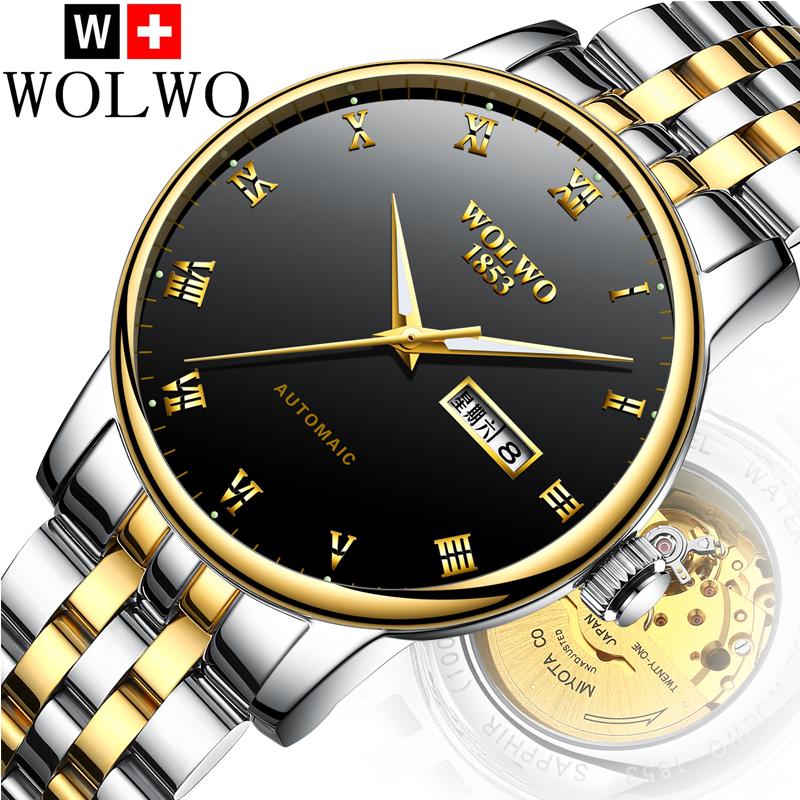 沃伦沃手表 超薄全自动机械表钨钢男表男士防水夜光防水潮流新款
