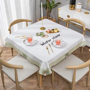 网红北欧餐桌布台布家用pvc塑料小桌正方形桌布防水防烫防油免洗