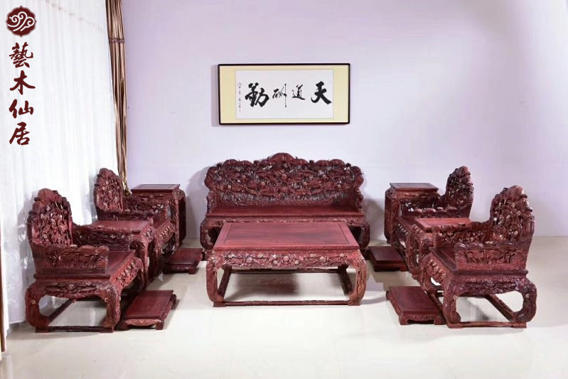 Heavy industry Zambia blood sandalwood carved lotus throne sofa classic Chinese furniture high imitation small leaf red sandalwood living room sand