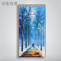 All the way peer Zhang Ziju original hand-painted oil painting nordic style modern landscape vertical plate entrance corridor aisle
