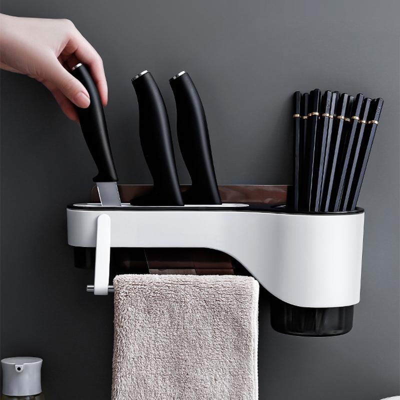 厨房免打孔置物架壁挂刀具架厨具用品家用一体筷子抹布刀具收纳架