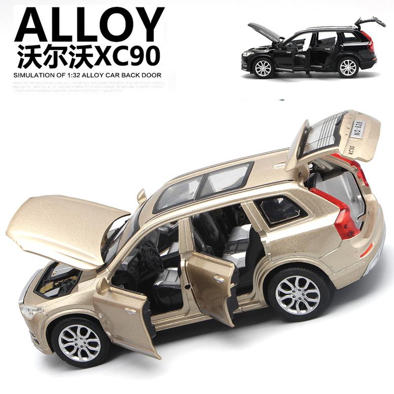 沃尔沃XC90合金车模声光回力六开门儿童汽车模型仿真玩具车模摆件