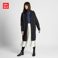 Women's wool blended hooded knitting coat 420515 UNIQLO