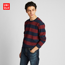 Men's washed striped T-shirts (long sleeves) 420785 Uniqlo
