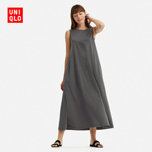 Women's Mercerized Cotton A-shaped Long Dress (Sleeveless) 413806 UNIQLO Uniqlo