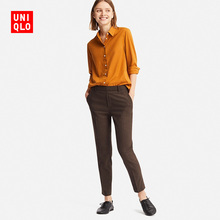 Women EZY Cropped Pants (Flannel) 412616 Uniqlo UNIQLO