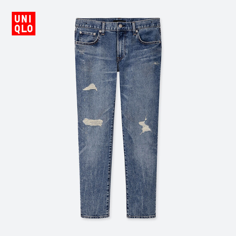Men's fitted jeans (washed products) (holes) 420805 UNIQLO Uniqlo
