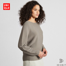 Women's wear 3D cotton wide sleeve knitted sweater (long sleeve) 421485 Uniqlo