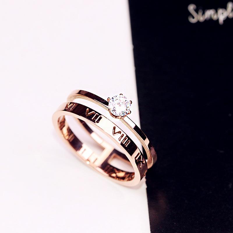 Titanium steel Korean fashion food ring double layer ring for women