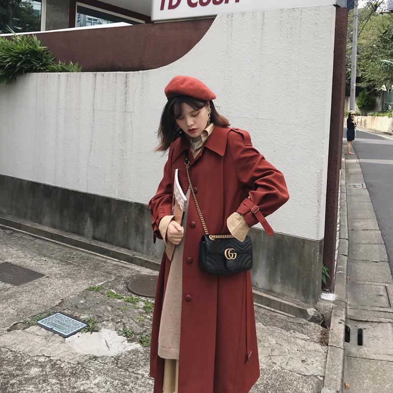 ◆SRK◆砖红色风衣女2019秋中长款过膝宽松复古小个子大衣外套券后338.00元