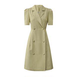 ◆SRK◆Summer's Tale 復古格紋西裝領短裙雙排扣格子連衣裙套裝