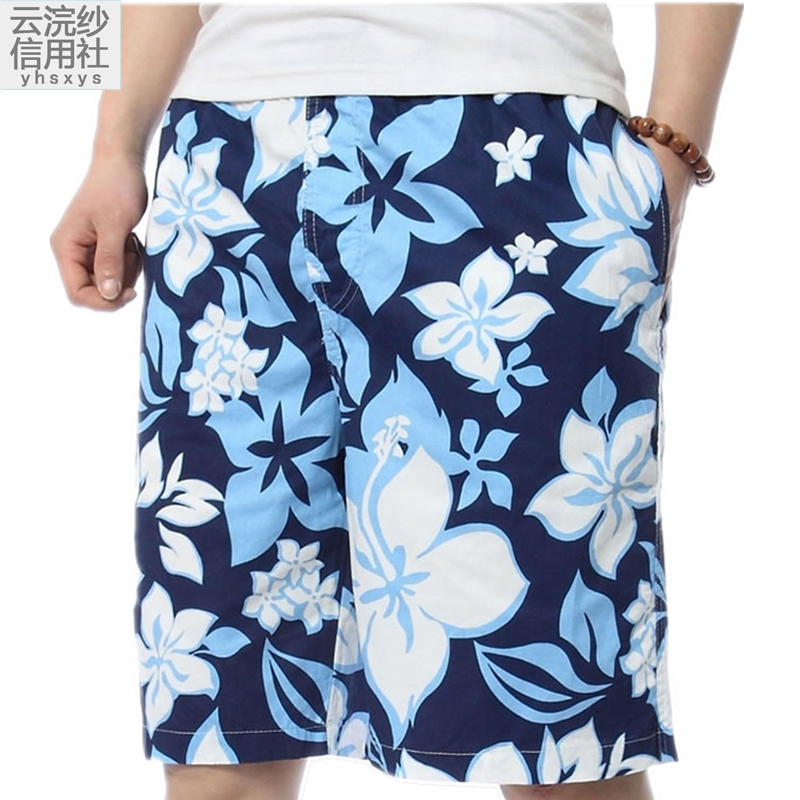 Cotton beach pants mens loose oversized large flower underpants Capris summer swimming quick drying printed shorts