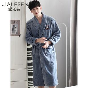 珊瑚绒睡袍男士 冬款 睡衣法兰绒浴袍浴衣一体式 冬天加厚长款 秋冬季