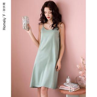 带胸垫bra丝光棉吊带睡衣睡裙女士纯棉背心夏季夏天薄款连衣裙子