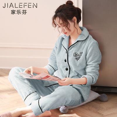 睡衣女秋冬季珊瑚绒长袖家居服法兰绒加厚款冬天大码加绒保暖套装