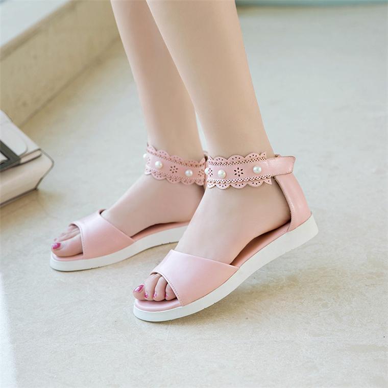 韩版2018夏季新款甜美平跟鞋中大童公主女孩子初中生学生鞋女凉鞋