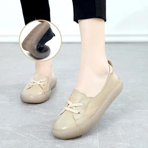 超软纯皮豆豆鞋2020春款透气牛皮女鞋舒适真皮软底软面平底妈妈鞋