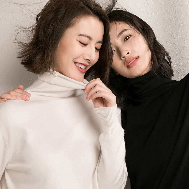 New Korean sweaters in autumn / winter 2019 womens old age slim bottoming shirt fashionable and versatile core spun yarn