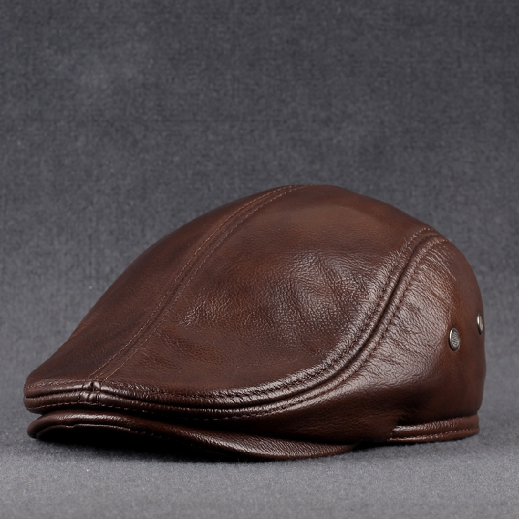 Leather Hat mens middle-aged and old peoples head leather fashion leisure cap elderly winter forward Hat Beret Hat