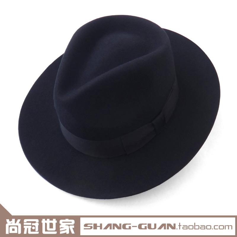 秋冬季中老年男士复古礼帽真羊毛呢大檐英伦爵士帽影视毡帽加大码